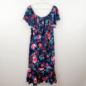 LuLaRoe | Navy Floral Ruffled Mermaid Cici Dress